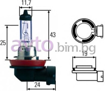 Крушка H8 12V 35W PGJ19-1 Blue Light - Hella