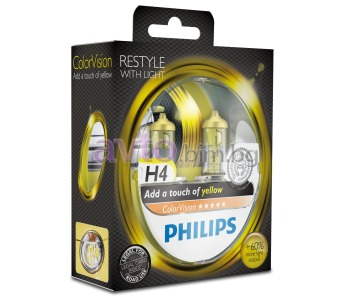 Крушки H4 12V 60/55W PHILIPS Color Vision YELLOW ( жълто ) 2 броя