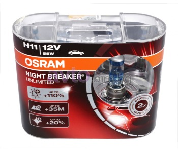 Крушки H11 12V 55W PGJ19-2 +110% NIGHT BREAKER UNLIMITED 2бр. - Osram